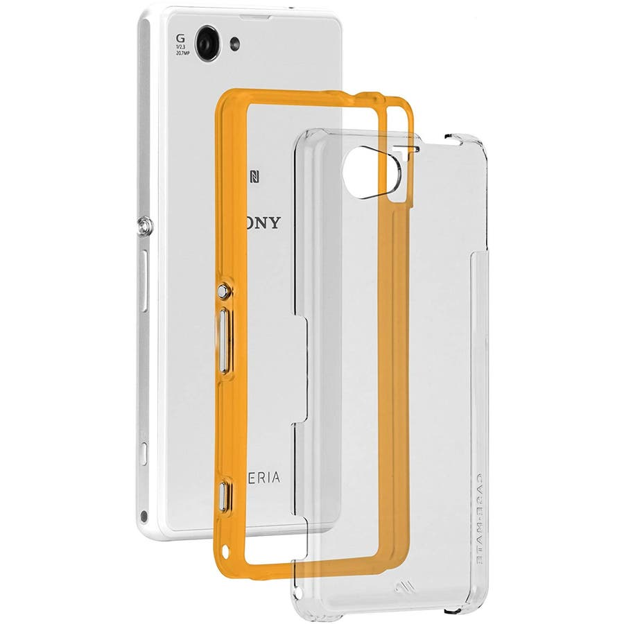 Xperia A2 /J1 Compact /Z1 f 対応ケース Hybrid Tough Naked Case,Clear/Orange 1