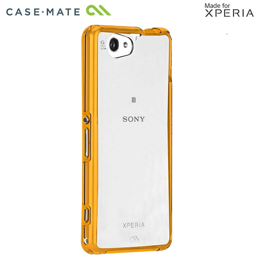 Xperia A2 /J1 Compact /Z1 f 対応ケース Hybrid Tough Naked Case,Clear/Orange 2