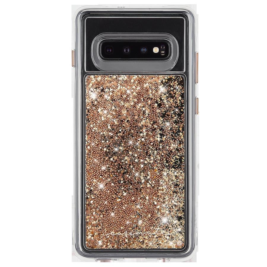 Galaxy S10 ハード スマホケース カバー [耐衝撃・ワイヤレス充電対応・ハイブリッド・スリム構造] 流れるキラキラウォーターフォール ゴールド 1