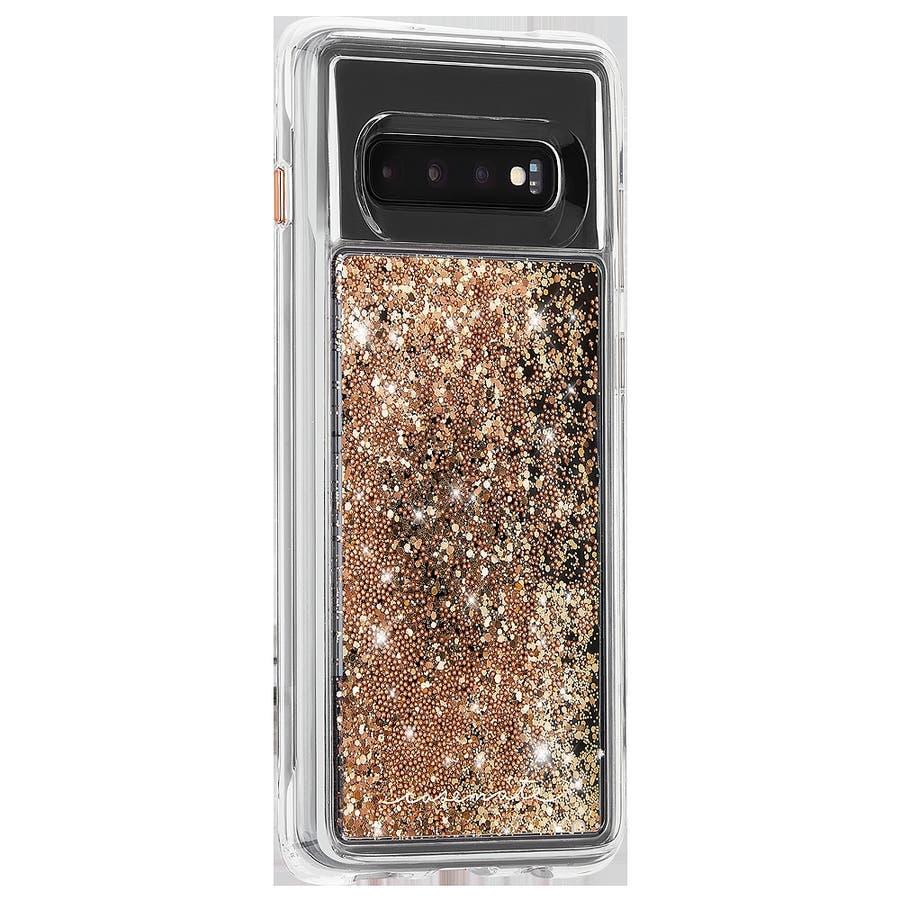 Galaxy S10 ハード スマホケース カバー [耐衝撃・ワイヤレス充電対応・ハイブリッド・スリム構造] 流れるキラキラウォーターフォール ゴールド 2