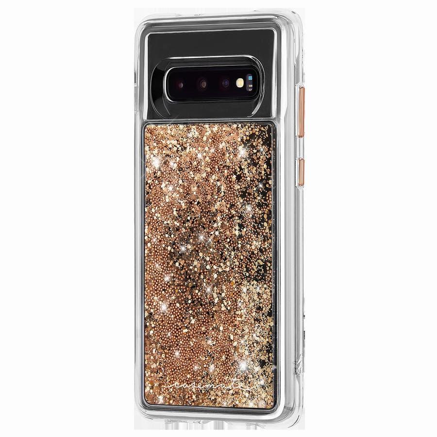 Galaxy S10 ハード スマホケース カバー [耐衝撃・ワイヤレス充電対応・ハイブリッド・スリム構造] 流れるキラキラウォーターフォール ゴールド 3