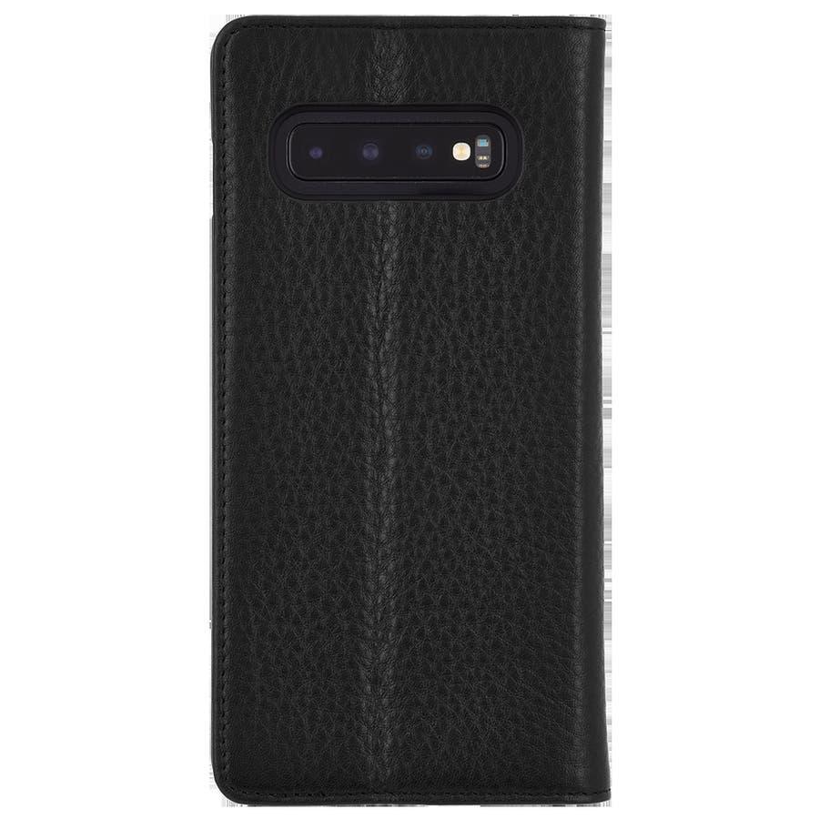 手帳型 Galaxy S10+ 二つ折 カバー IC カード 収納 [耐衝撃・画面保護]本革 レザー ウォレット フォリオ ブラック 1