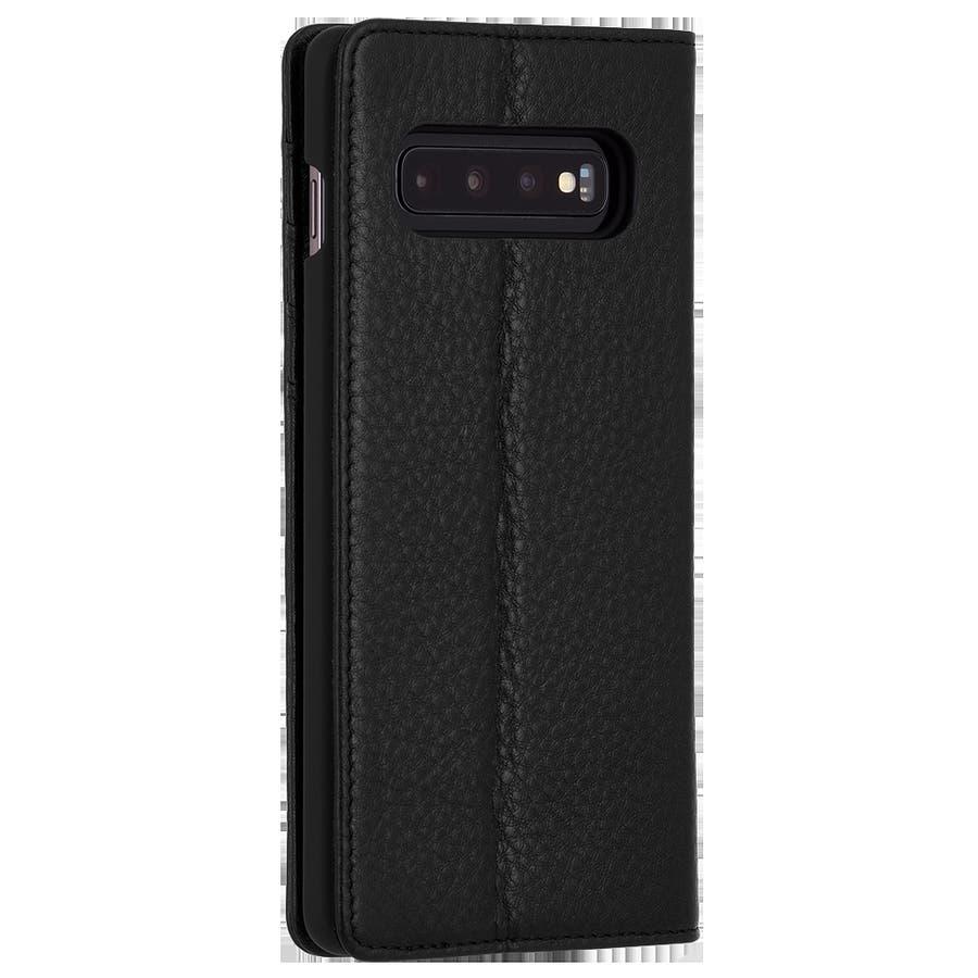 手帳型 Galaxy S10+ 二つ折 カバー IC カード 収納 [耐衝撃・画面保護]本革 レザー ウォレット フォリオ ブラック 2