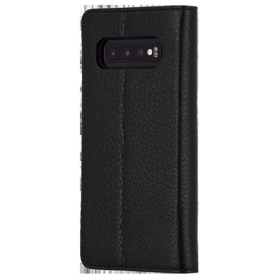 手帳型 Galaxy S10+ 二つ折 カバー IC カード 収納 [耐衝撃・画面保護]本革 レザー ウォレット フォリオ ブラック 3