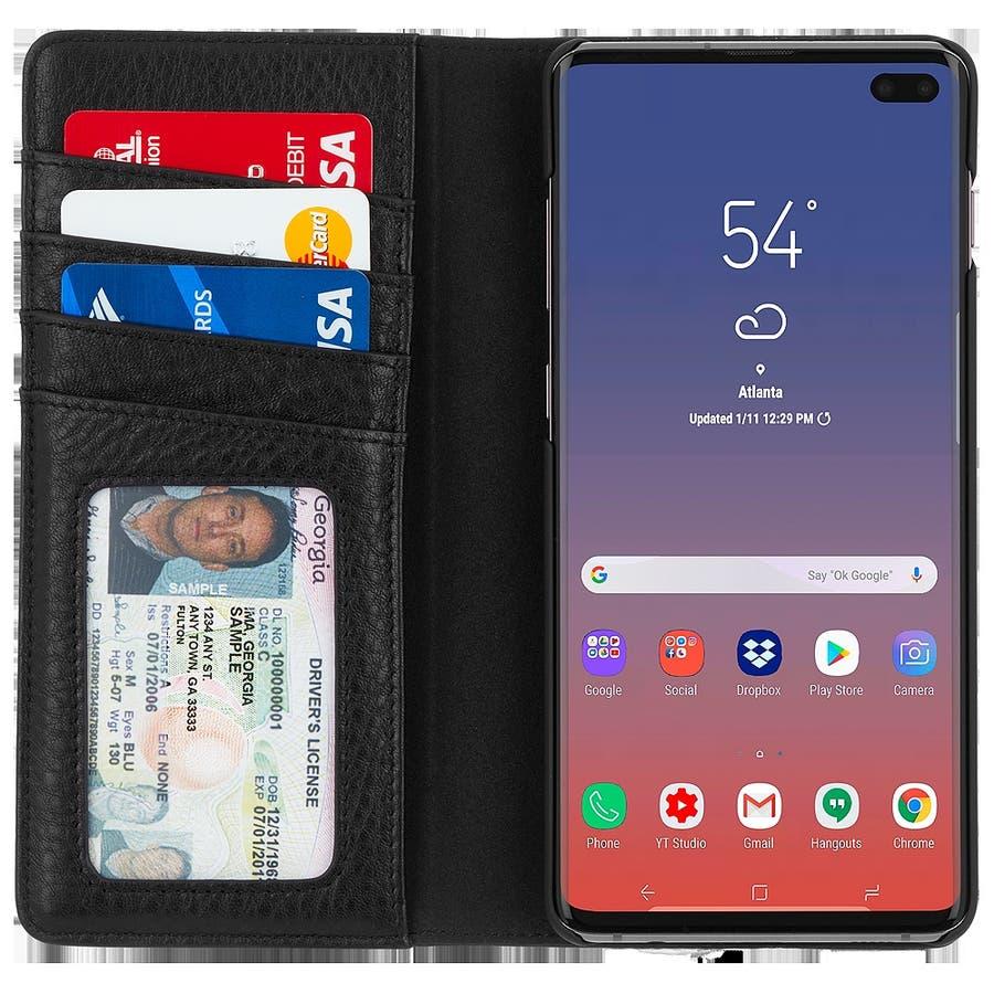 手帳型 Galaxy S10+ 二つ折 カバー IC カード 収納 [耐衝撃・画面保護]本革 レザー ウォレット フォリオ ブラック 5