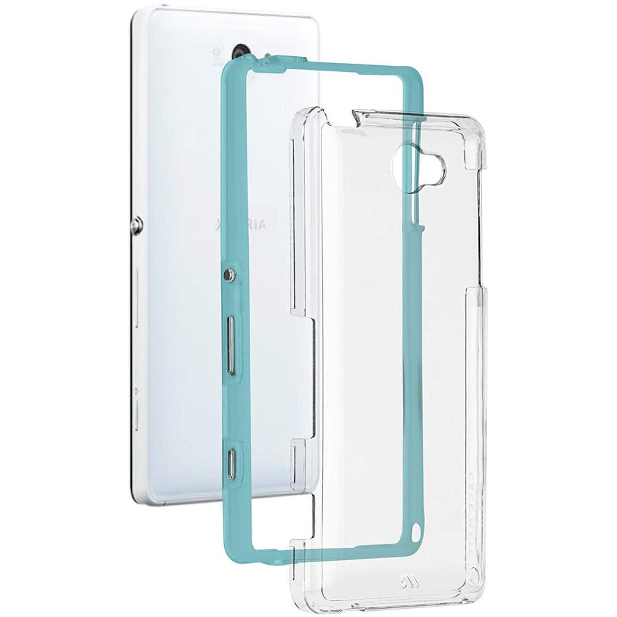 Sony Xperia ZL2 対応ケース Hybrid Tough Naked Case, Clear/Turquoise 1