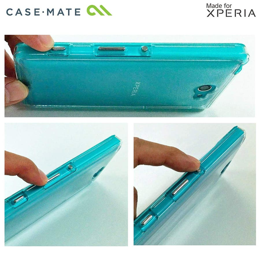Sony Xperia ZL2 対応ケース Hybrid Tough Naked Case, Clear/Turquoise 4