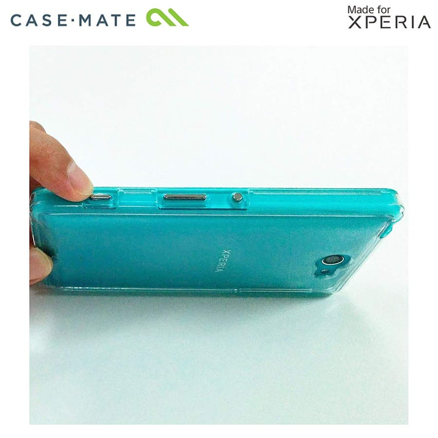 Sony Xperia ZL2 対応ケース Hybrid Tough Naked Case, Clear/Turquoise 7
