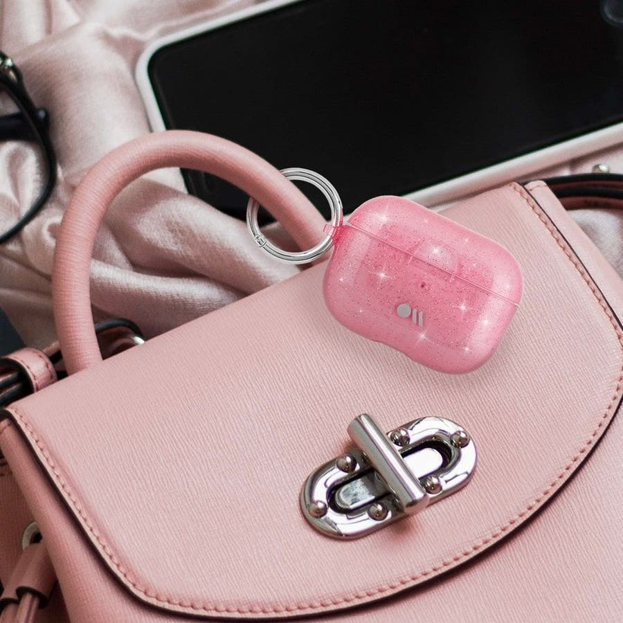 【AirPods Pro ケース・ワイヤレス充電OK】 AirPods Pro Case Sheer Crystal Blushw/Pink Circular Ring 1