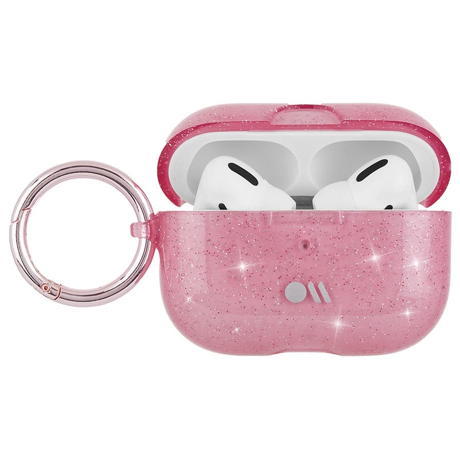 【AirPods Pro ケース・ワイヤレス充電OK】 AirPods Pro Case Sheer Crystal Blushw/Pink Circular Ring 3