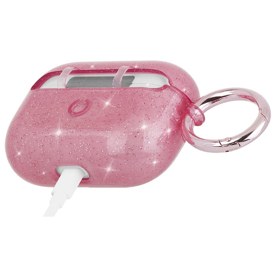 【AirPods Pro ケース・ワイヤレス充電OK】 AirPods Pro Case Sheer Crystal Blushw/Pink Circular Ring 6