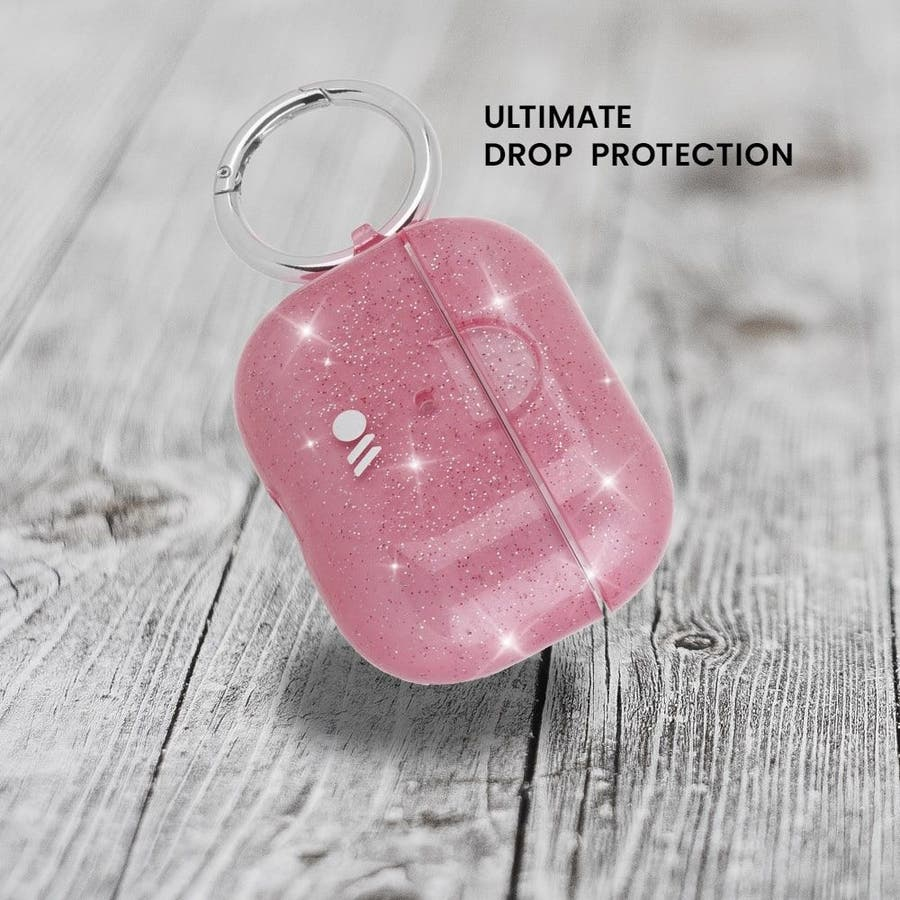 【AirPods Pro ケース・ワイヤレス充電OK】 AirPods Pro Case Sheer Crystal Blushw/Pink Circular Ring 7