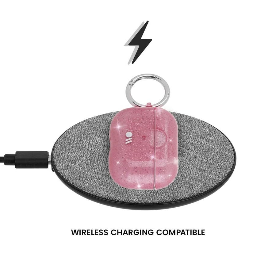 【AirPods Pro ケース・ワイヤレス充電OK】 AirPods Pro Case Sheer Crystal Blushw/Pink Circular Ring 8