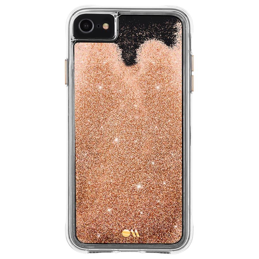 【iPhoneSE(第2世代) /8/7/6s/6対応 流れるラメが美しい】 Waterfall-Gold 2