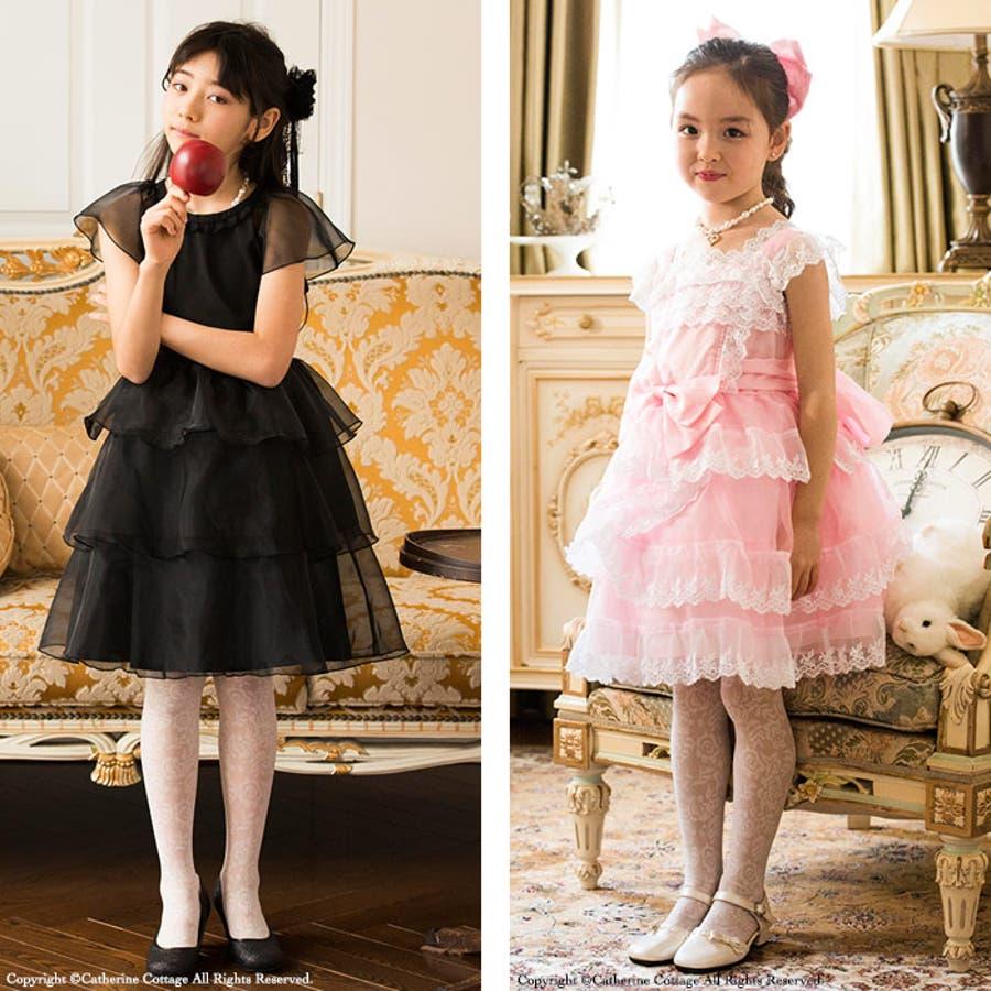 子供用 タイツ バラ柄タイツ バラの柄がかわいいタイツ。フォーマルドレスや