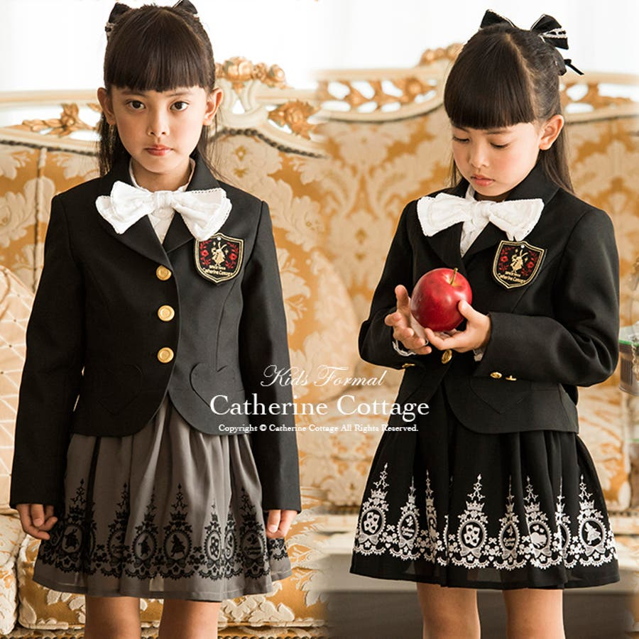 2dc1e86ffd825 卒業式 子供スーツ 女の子 アリス柄スーツ3点セット ジャケット スカート ...
