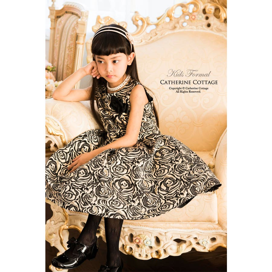 c88c028dc4e7b 子供ドレス ピアノ発表会・結婚式に♪ ローズ織りジャガード ドレス 子供 ...