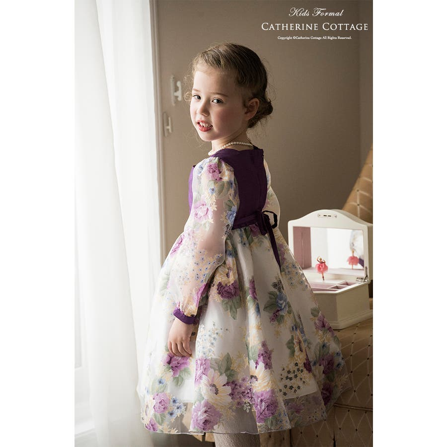 子供ドレス 花柄オーガンジー女の子ドレス [ フォーマル キッズ 紫 パープル 子供服 結婚式