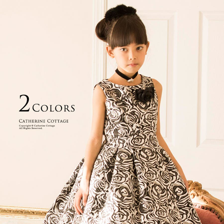 9c0c8a4633dfc 子供ドレス ピアノ発表会・結婚式に♪ ローズ織りジャガード ドレス 子供 ...