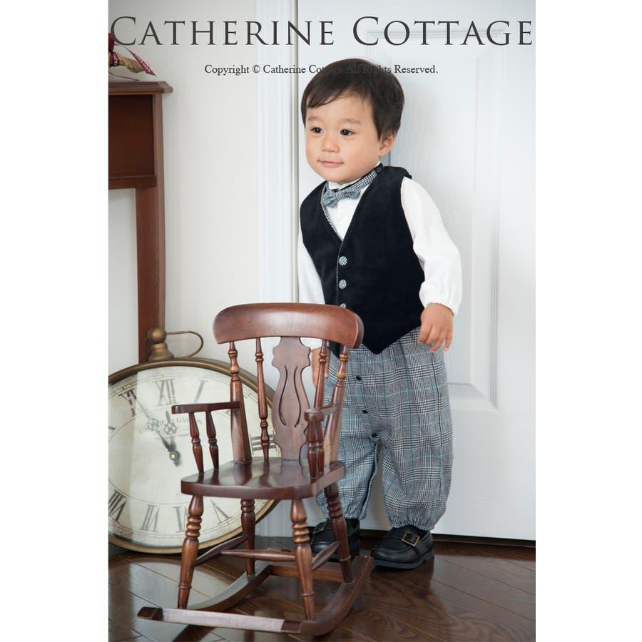 [男の子スーツ] 子供服 ベスト付きロンパーススーツ [ベスト] 蝶ネクタイ3