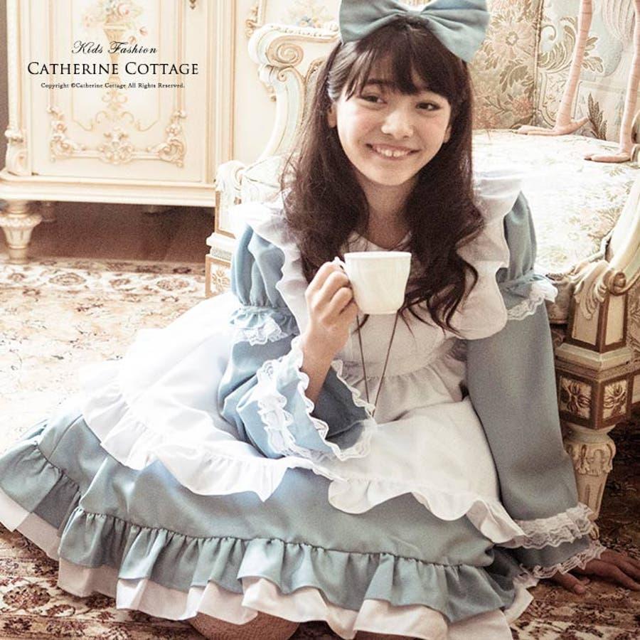 002701655631d ハロウィン衣装 ジュニア ドレス 水色 アリス エプロンドレス   女の子 コスチューム ジュニア 140 150cm 子供 ドレス