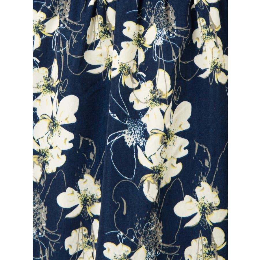 花柄ノーカラーロングブラウス 6