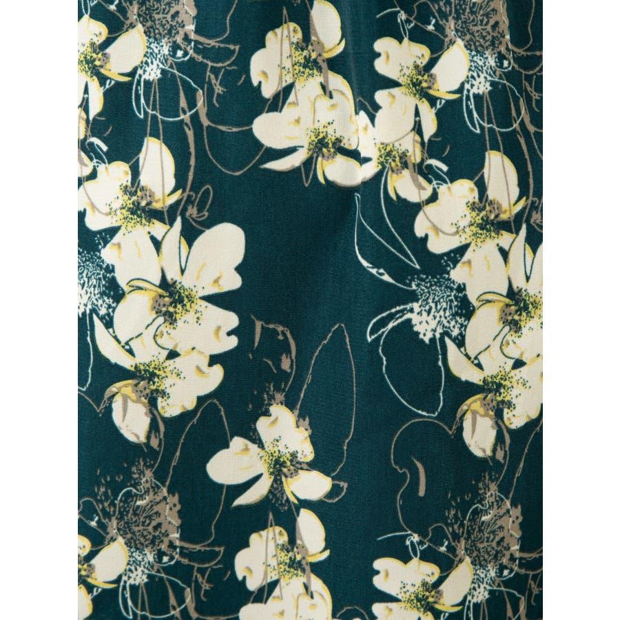 花柄ノーカラーロングブラウス 7