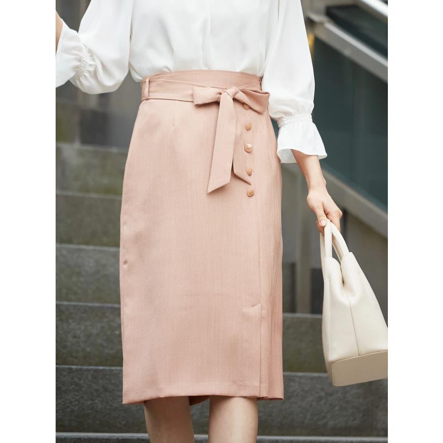 釦付ペンシルタイト麻調スカート 7