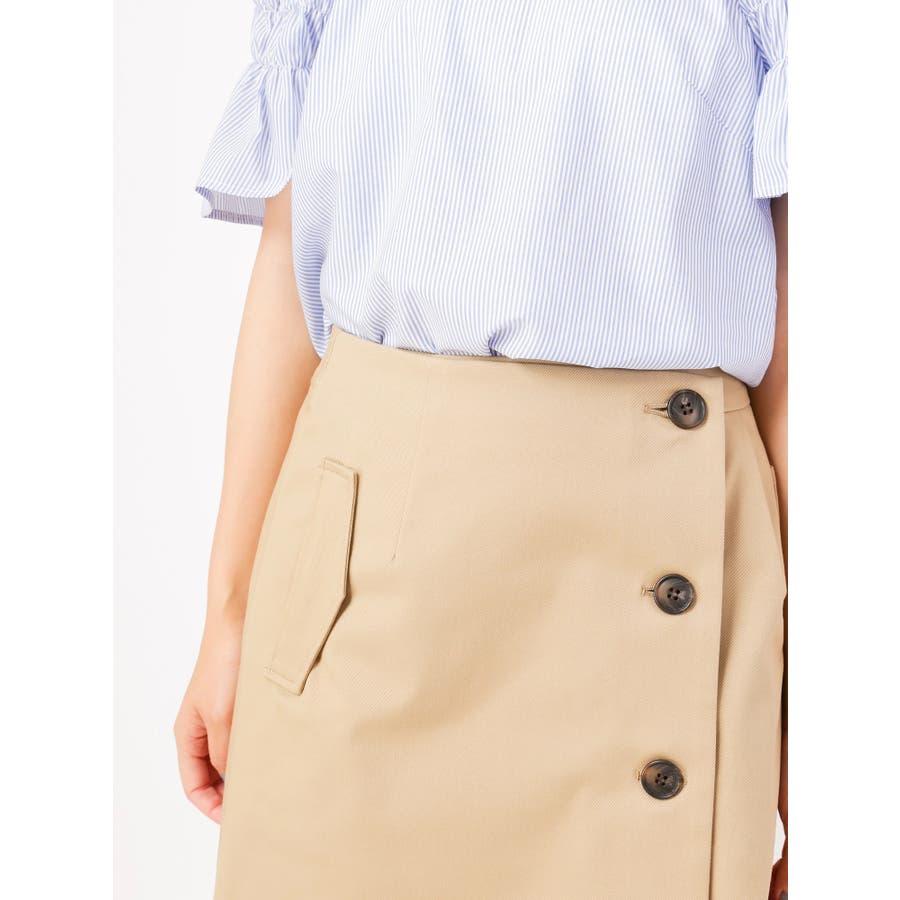 トレンチ風ラップ台形スカート 5