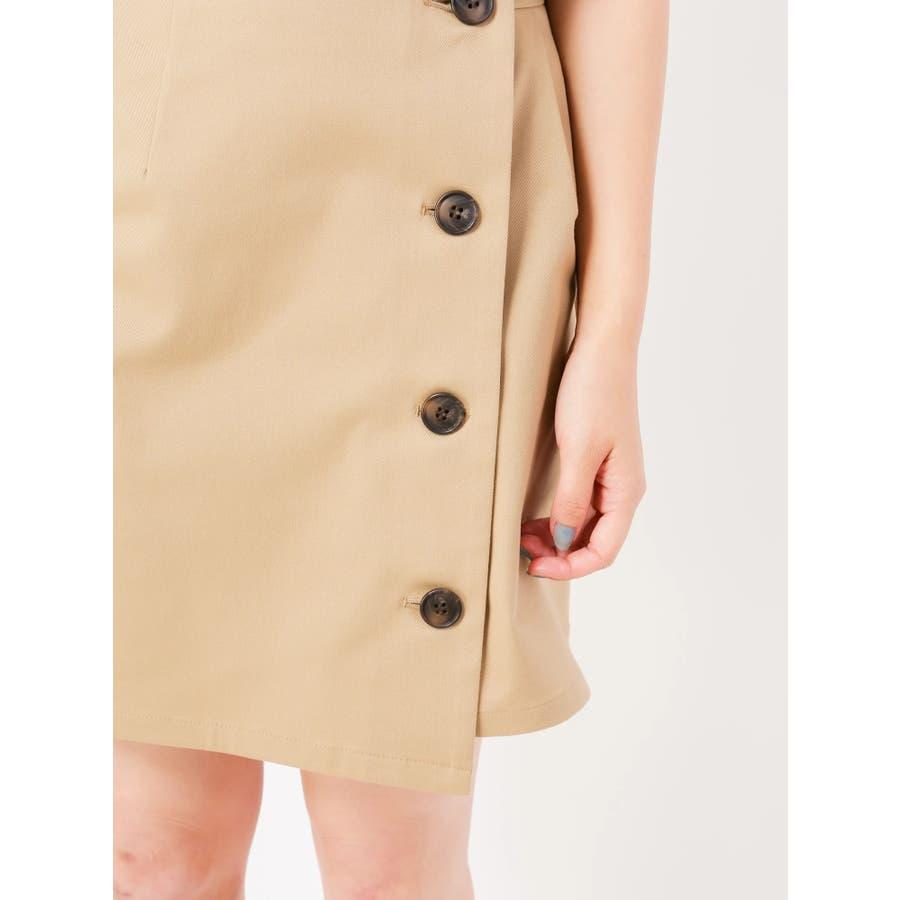 トレンチ風ラップ台形スカート 6