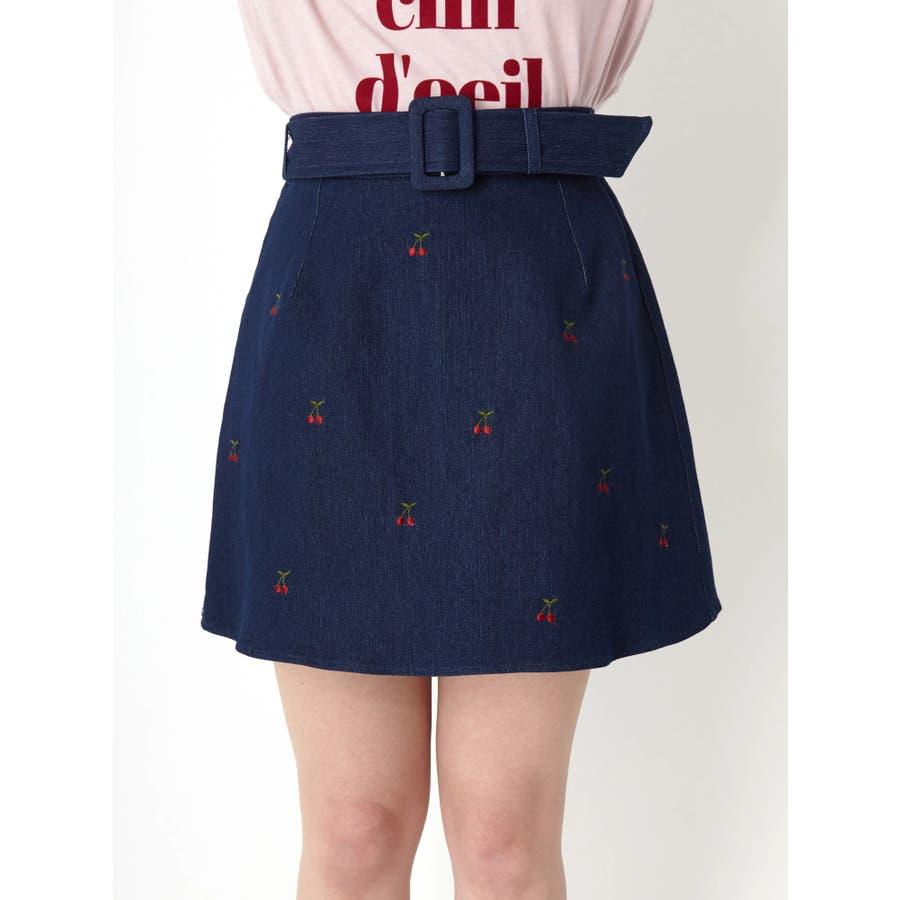 チェリー刺繍台形スカート 2