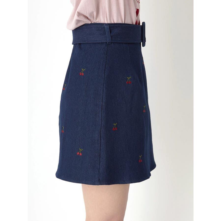 チェリー刺繍台形スカート 3