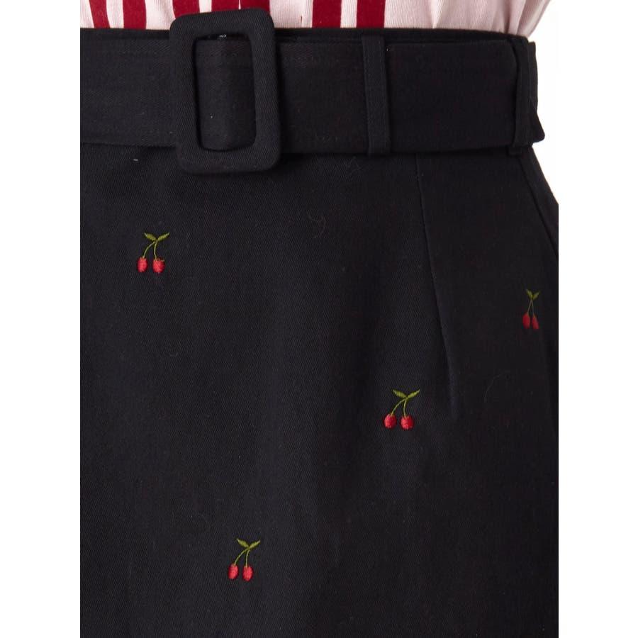 チェリー刺繍台形スカート 7