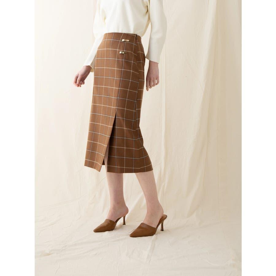 チェックウールタイトスカート 1