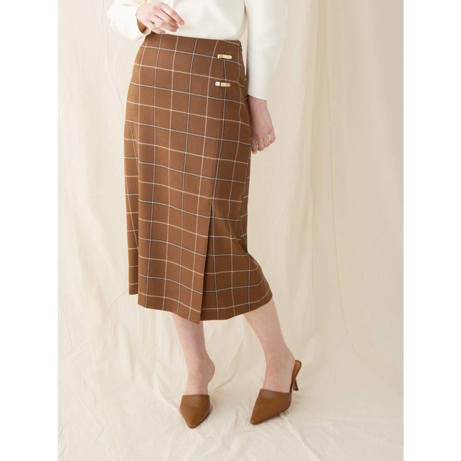 チェックウールタイトスカート 29