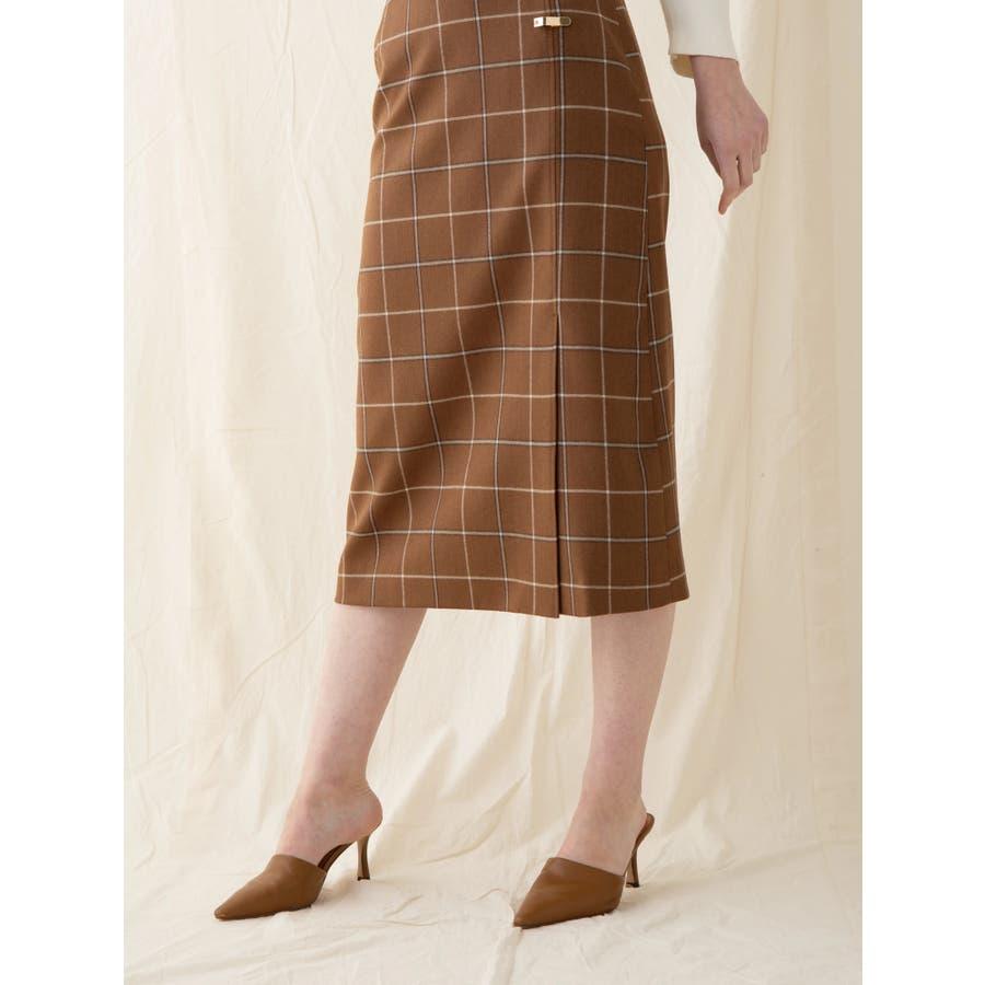 チェックウールタイトスカート 2