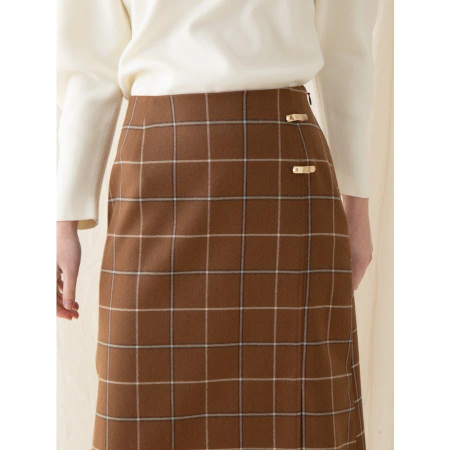 チェックウールタイトスカート 3
