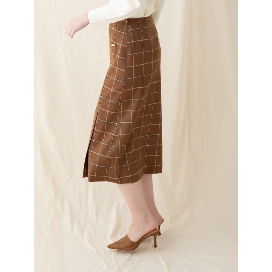 チェックウールタイトスカート 4