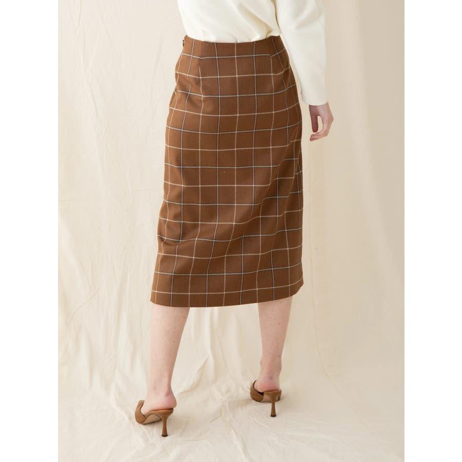 チェックウールタイトスカート 5
