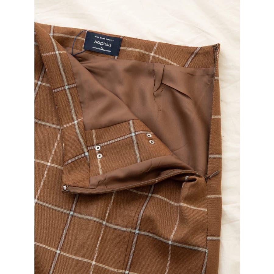 チェックウールタイトスカート 7