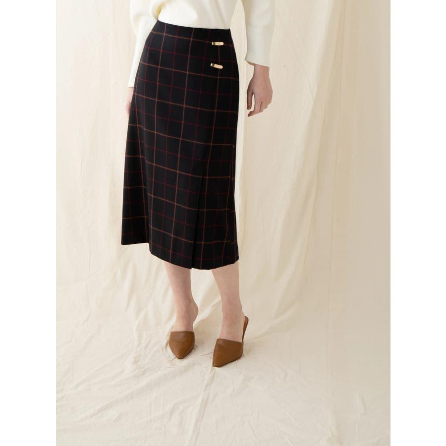 チェックウールタイトスカート 8
