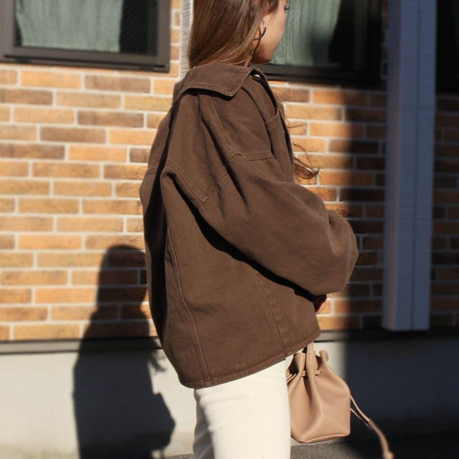ジャケット ウォッシュ加工オーバージャケット 羽織 レトロ ヴィンテージ ゆったりサイズ カツラギ 長袖 5