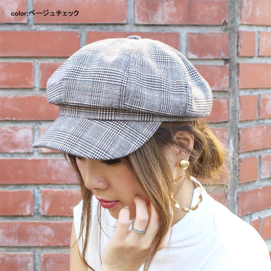 キャスケット 帽子 無地キャスケット グレンチェックキャスケット キャップ ハット シンプル 4