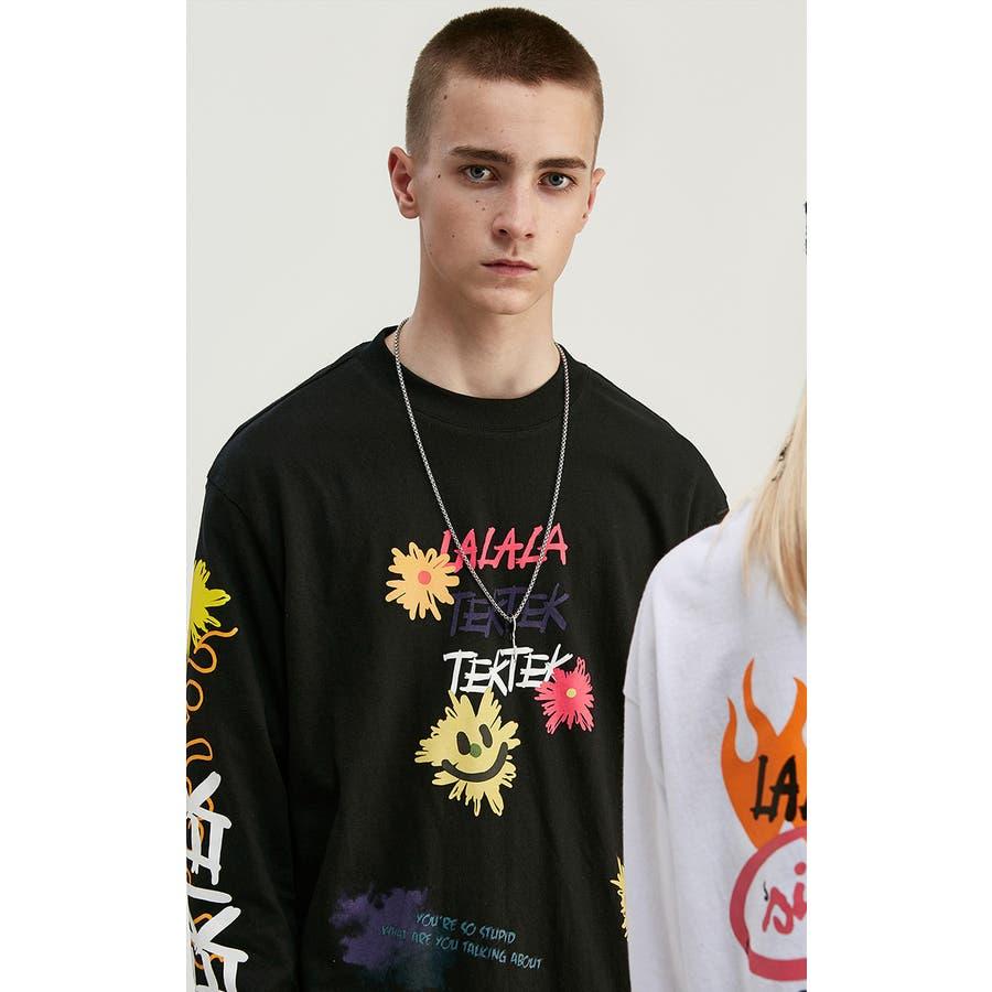 ロンT メンズ 長袖 ロングtシャツ Tシャツ プリント メンズTシャツ プリントTシャツ メッシュ 袖プリント英字ロゴカットソー長袖Tシャツ ストリート モード ファッション ビッグTシャツ Uネック オーバーサイズ グラフィック 5