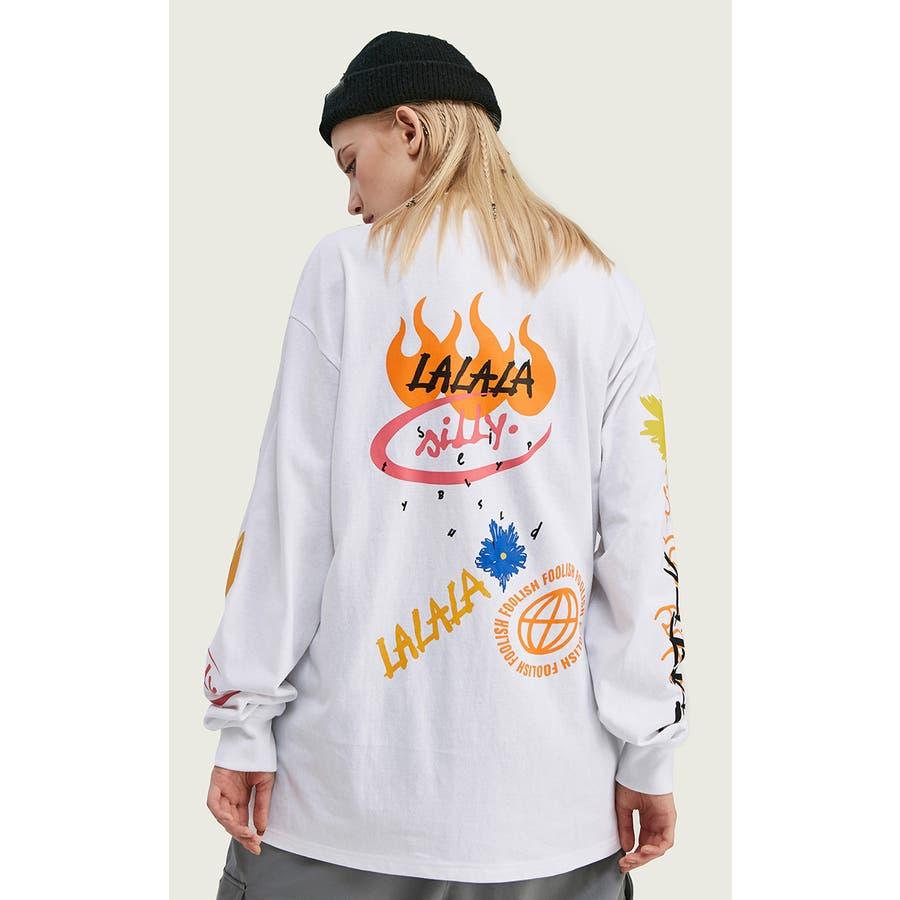 ロンT メンズ 長袖 ロングtシャツ Tシャツ プリント メンズTシャツ プリントTシャツ メッシュ 袖プリント英字ロゴカットソー長袖Tシャツ ストリート モード ファッション ビッグTシャツ Uネック オーバーサイズ グラフィック 8