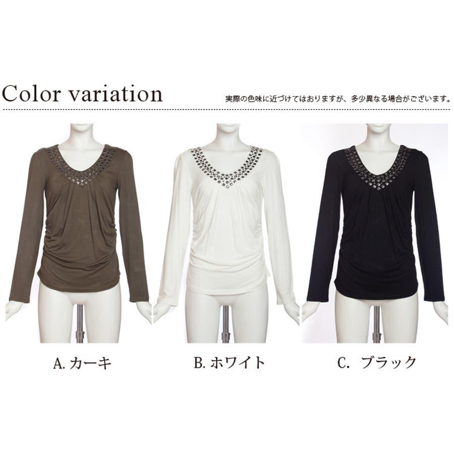 スタッズ付きVネックカットソーシャツ!選べる3カラー!ven-9000005 4