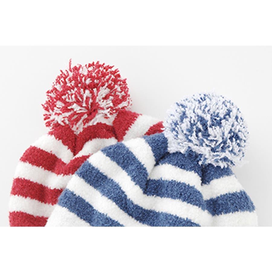 *ボンシュシュ*ボンボン付きマリン柄マシュマロニット帽子【日本製】【ベビー】【秋冬】 5
