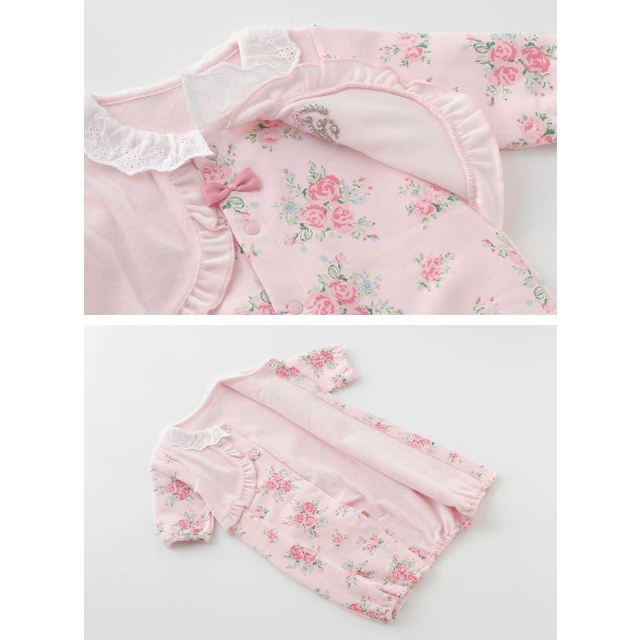 969e2602135a7 スウィートガール 見せかけベストお花柄新生児ツーウェイオール 冬素材 ...