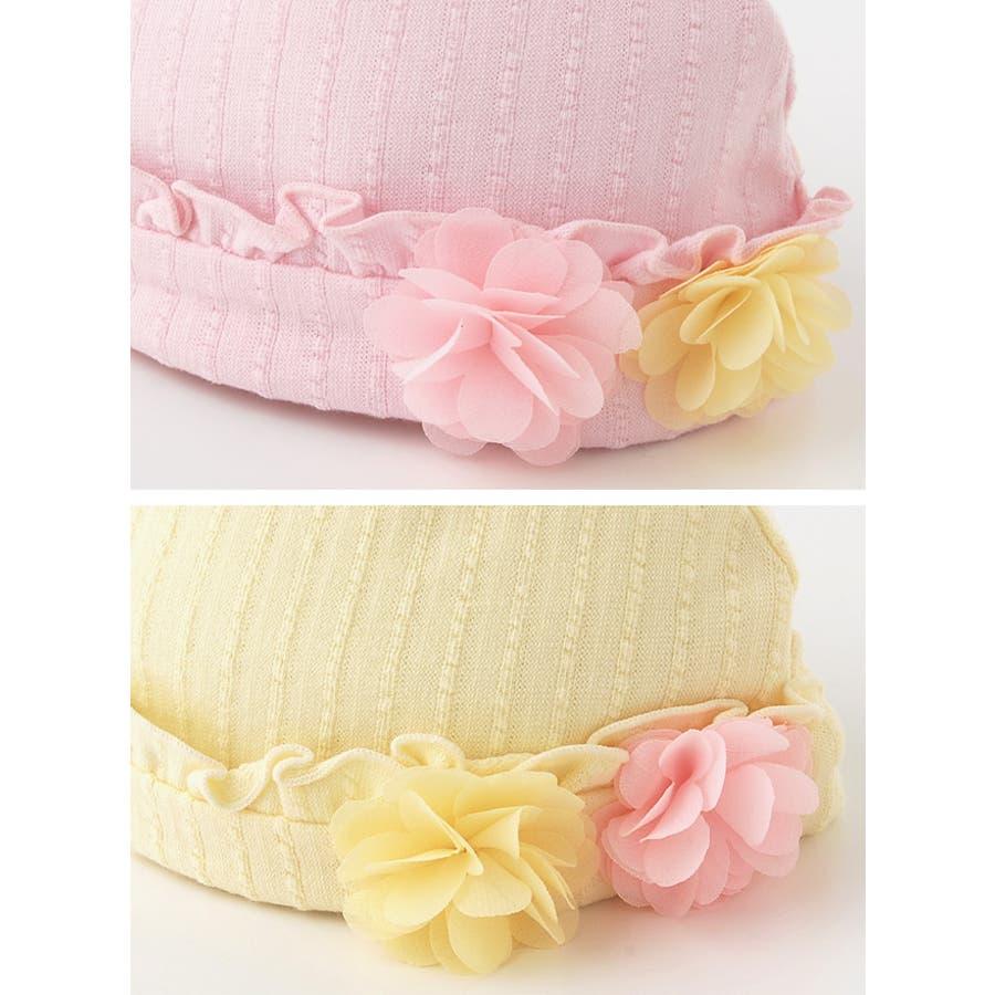 *スウィートガール*お花コサージュ付き帽子赤ちゃん 新生児 ベビー 帽子 キャップ出産準備 お祝いギフト チャックルベビー 3