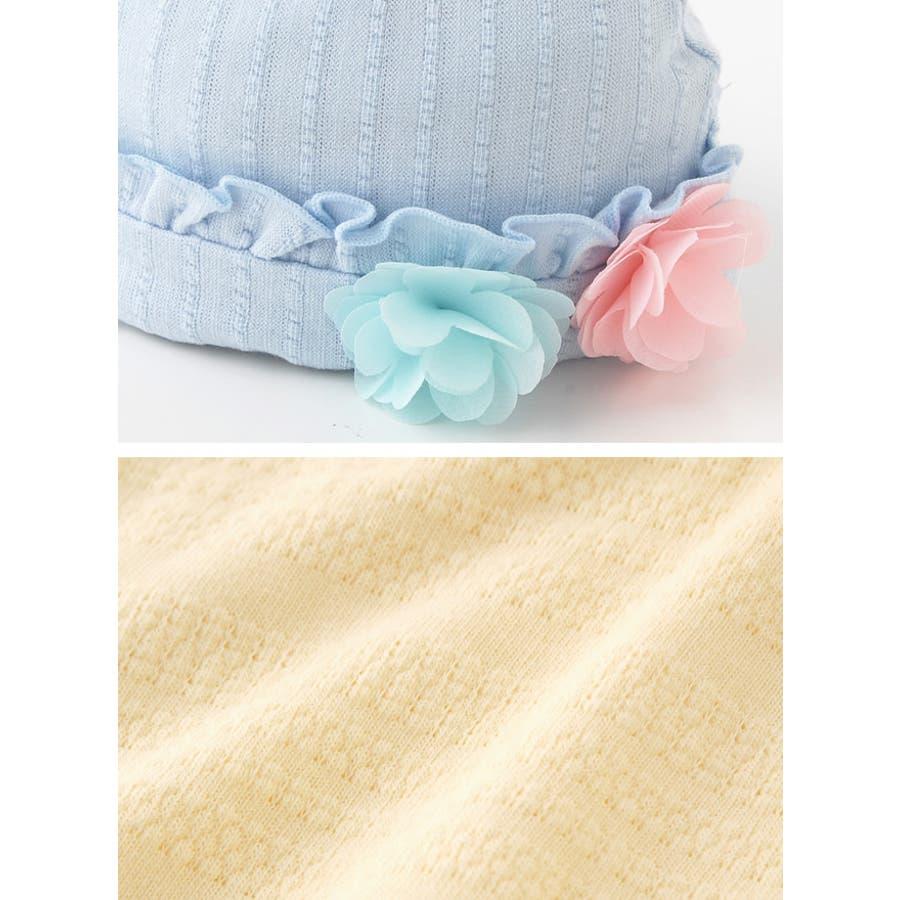 *スウィートガール*お花コサージュ付き帽子赤ちゃん 新生児 ベビー 帽子 キャップ出産準備 お祝いギフト チャックルベビー 4